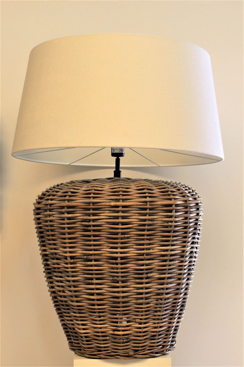 Key West Rattan Table Lamp With Linen Lampshade Xxl
