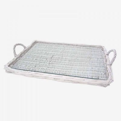 ANGOLO RATTAN TRAY WITH GLASS / WHITE