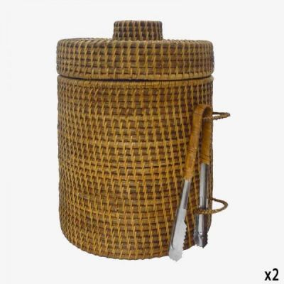 RATTAN ICE CUBE BUCKET WITH CLIPS / EXTRA LARGE