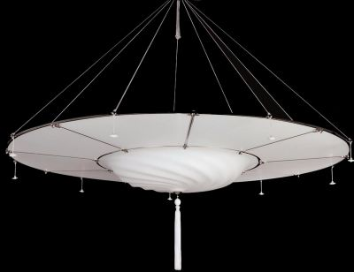 Fortuny Murano Glass Hanging Light White