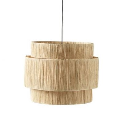 3 TIER IRON / RAFFIA CEILING LAMP LARGE