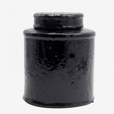 BLACK GLAZED POT / L