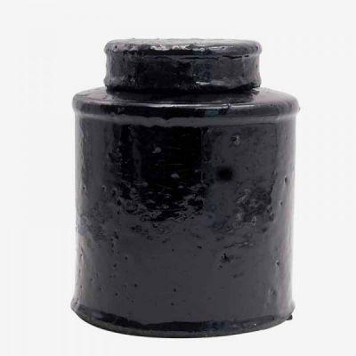 BLACK GLAZED POT / L