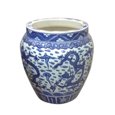 DRAGON WHITE & BLUE PORCELAIN PLANTER