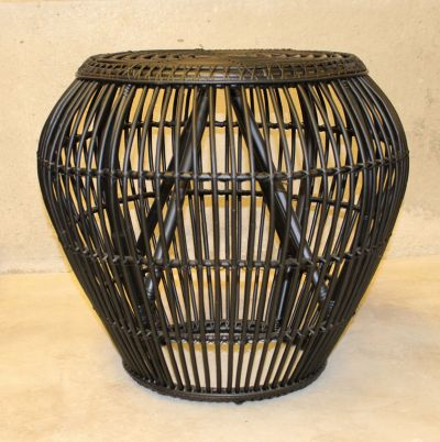 RAFFLES BLACK RATTAN SIDE TABLE