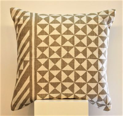 Tribes Linen Cushion in White & Natural