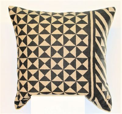 Tribes Linen Cushion in Black & Natural