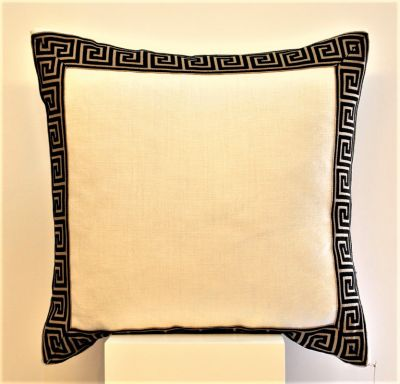 Greek Key Large Ivory Linen Cushion