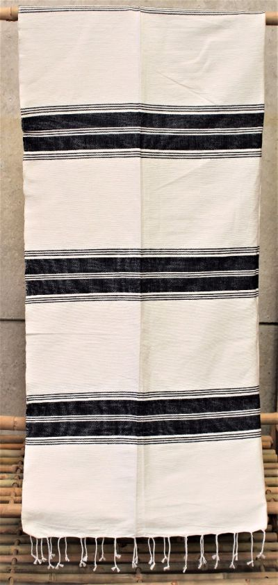 Hand Dyed & Hand Woven Cotton Blanket / Black & White Stripes.