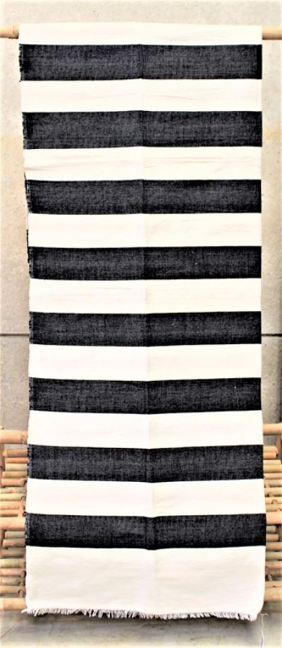 Moroccan Hand Woven Cotton Blanket in Black & White Stripes/02