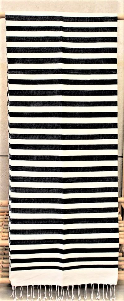 Moroccan Hand Woven Cotton Blankets in Black & White Stripes / 05