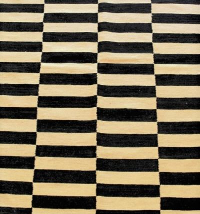 Pakistan Wool Kilim in Black & Beige Stripes 290 cm x 203 cm