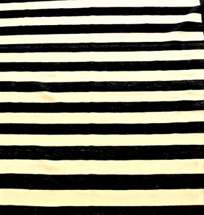 Pakistan Wool Kilim in Black & Beige Stripes 282 cm x 198 cm