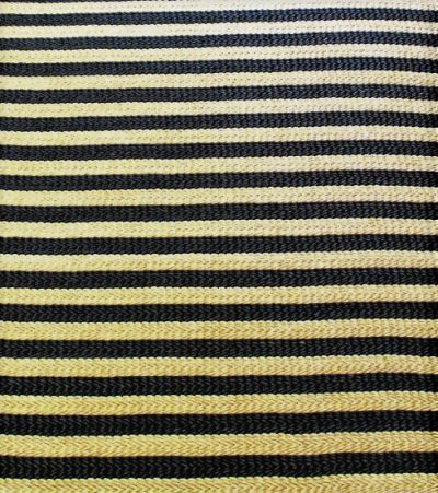 Abaca Natural Fibre, Hand Woven, Hand Made Rug in Black & Natural Stripes