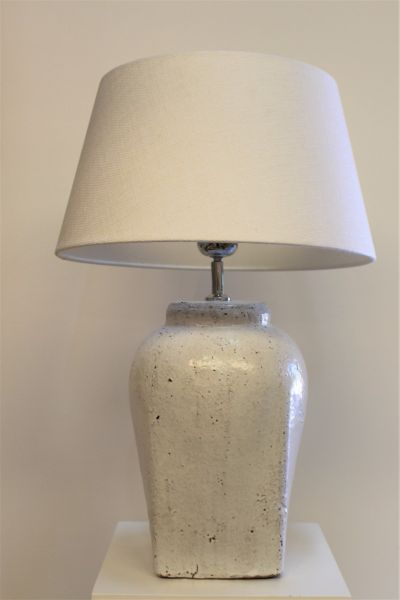 HECTOR MASSIF CERAMIC LAMP WITH LINEN LAMPSHADE