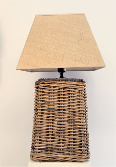 KARAWANG RATTAN LAMP WITH NATURAL JUTE LAMPSHADE