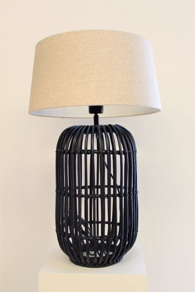 SERAM RATTAN BLACK LAMP WITH NATURAL LINEN LAMPSHADE