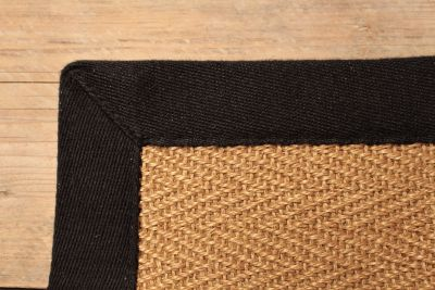 SISAL HERRINGBONE NATURAL FIBRE RUG / MIDNIGHT COTTON BORDER / 300 X 400