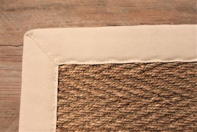 JUTE HERRINGBONE NATURAL FIBRE RUG / IVORY COTTON BORDER / 200 x 300