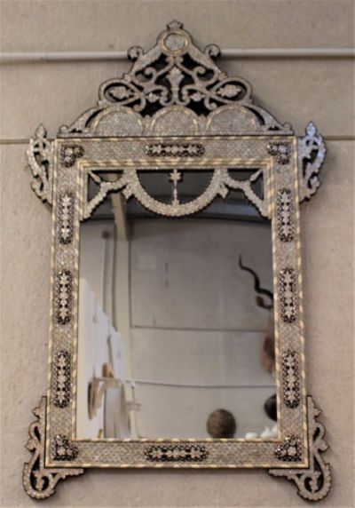 VINTAGE SYRIAN, MOTHER OF PEARL, CAMEL BONE, EBONY & SILVER INLAID MIRROR