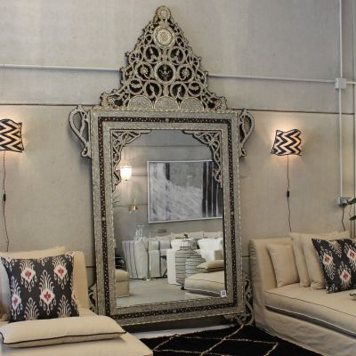MAGNIFICENT PALATIAL VINTAGE SYRIAN MOTHER OF PEARL, CAMEL BONE, EBONY & SILVER INLAID MIRROR