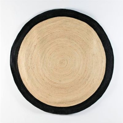 ROUND NATURAL & BLACK BORDER JUTE RUG