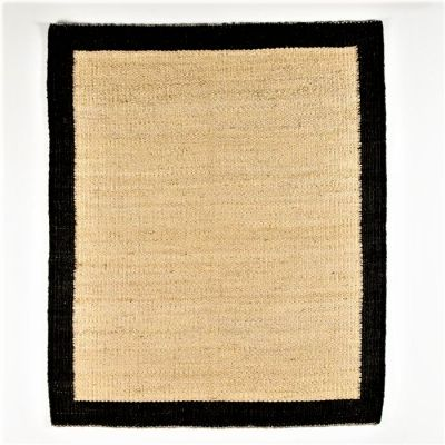 NATURAL JUTE FIBRE RUG BLACK BORDER