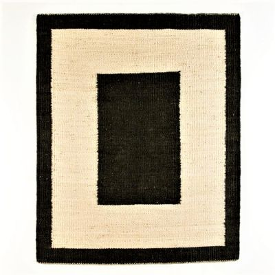 NATURAL JUTE RUG DOUBLE BLACK BORDER